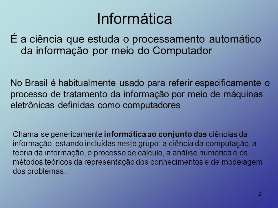 2 Informática É a ciência que estuda o processamento automático da informação por meio do Computador Chama-se genericamente informática ao conjunto da
