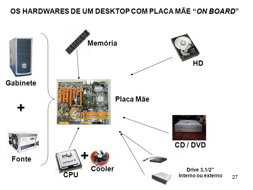 27 ON BOARD OS HARDWARES DE UM DESKTOP COM PLACA MÃE ON BOARD + Gabinete Fonte Placa Mãe CPU Memória HD CD / DVD + Cooler Drive 3,1/2 Interno ou exter
