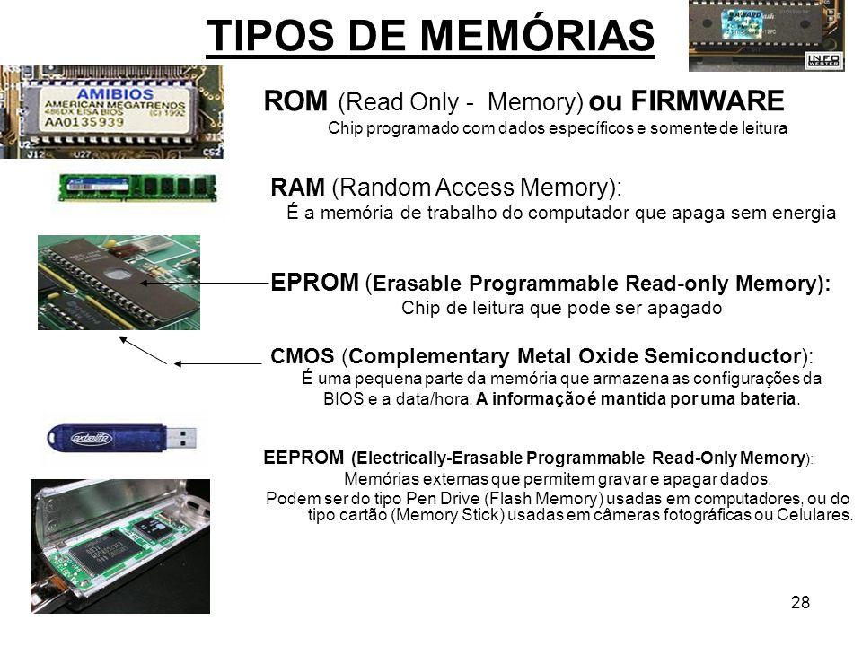 28 TIPOS DE MEMÓRIAS ROM (Read Only - Memory) ou FIRMWARE Chip programado com dados específicos e somente de leitura RAM (Random Access Memory): É a m