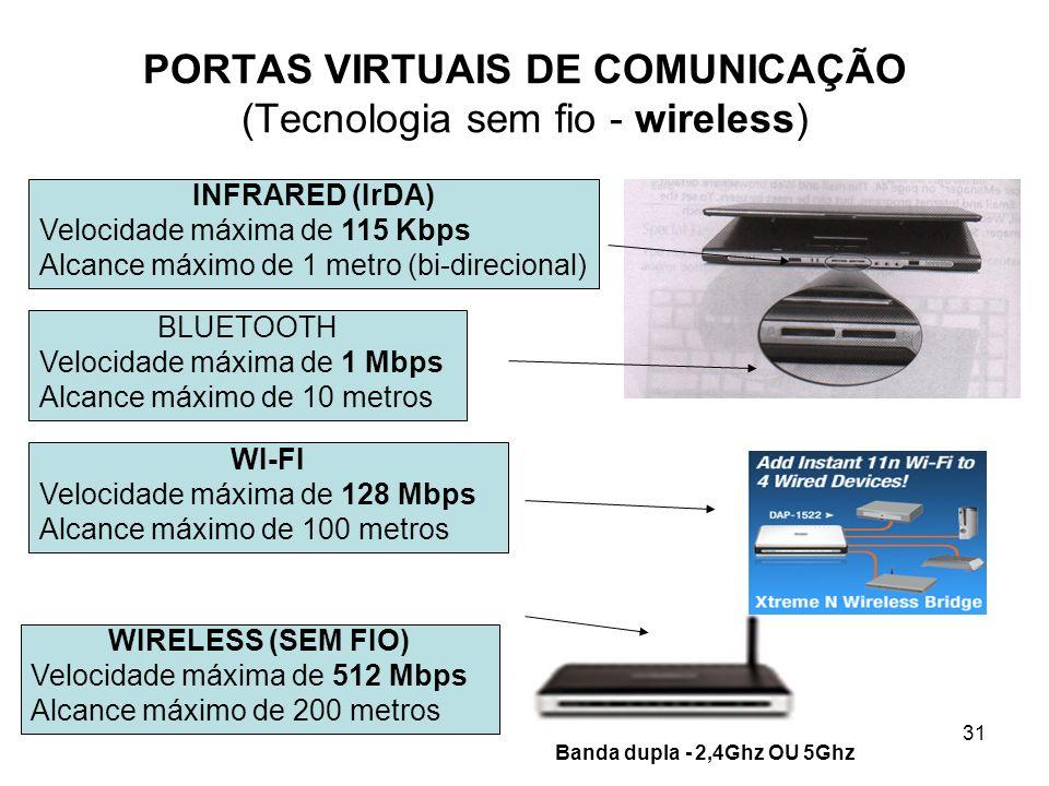 31 PORTAS VIRTUAIS DE COMUNICAÇÃO (Tecnologia sem fio - wireless) INFRARED (IrDA) Velocidade máxima de 115 Kbps Alcance máximo de 1 metro (bi-direcion