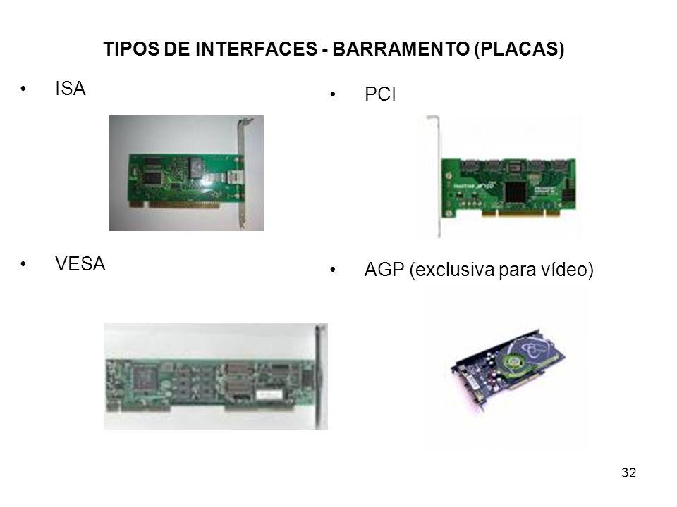 32 TIPOS DE INTERFACES - BARRAMENTO (PLACAS) ISA VESA PCI AGP (exclusiva para vídeo)