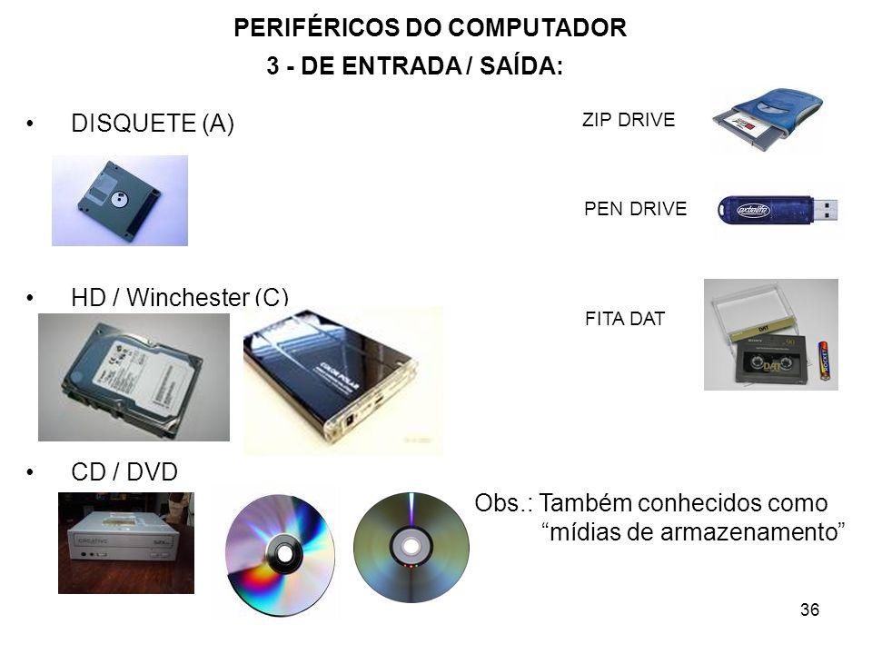 36 PERIFÉRICOS DO COMPUTADOR DISQUETE (A) HD / Winchester (C) CD / DVD Obs.: Também conhecidos como mídias de armazenamento 3 - DE ENTRADA / SAÍDA: ZI