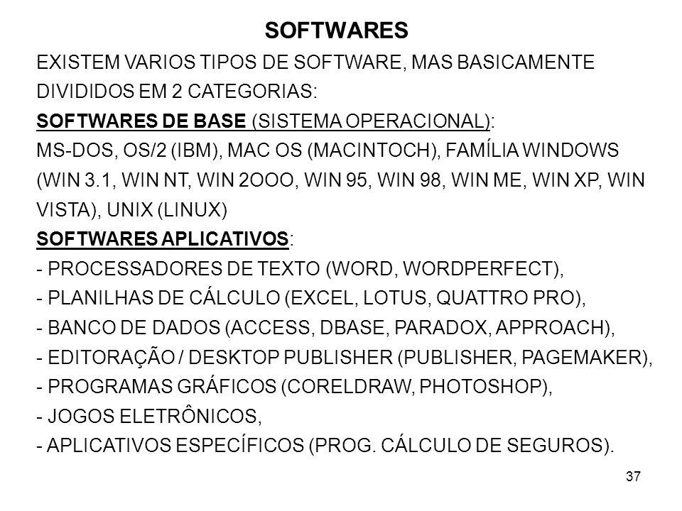 37 SOFTWARES EXISTEM VARIOS TIPOS DE SOFTWARE, MAS BASICAMENTE DIVIDIDOS EM 2 CATEGORIAS: SOFTWARES DE BASE (SISTEMA OPERACIONAL): MS-DOS, OS/2 (IBM),