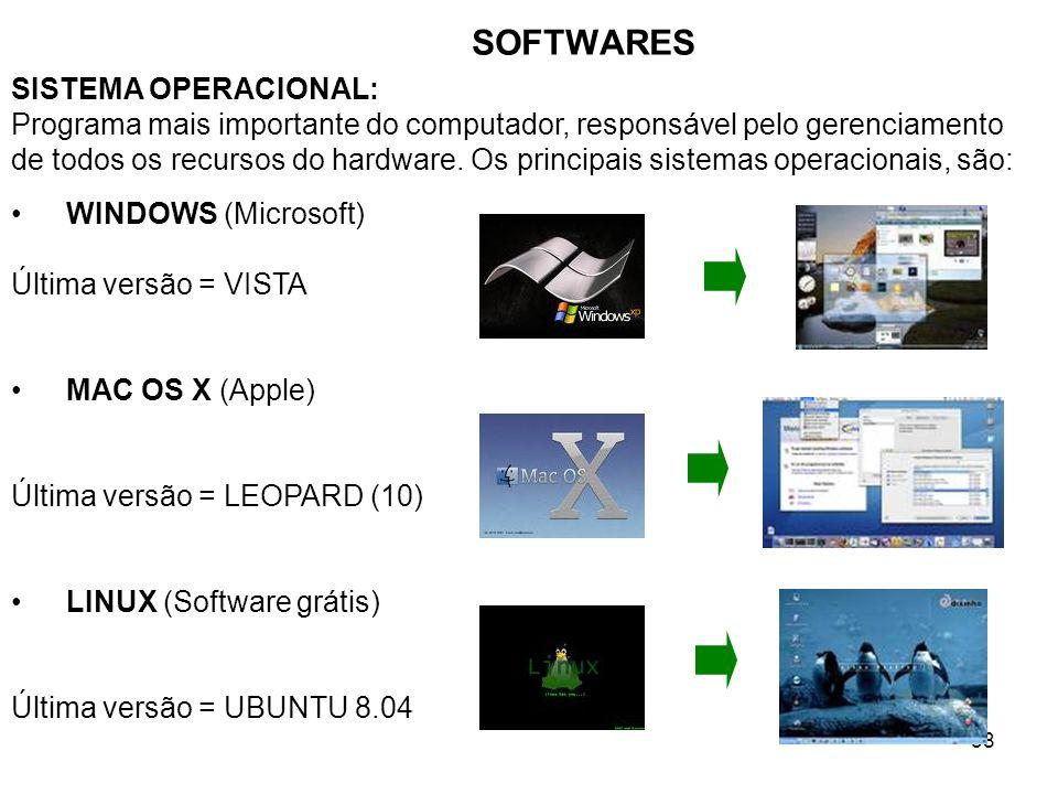 38 SOFTWARES SISTEMA OPERACIONAL: Programa mais importante do computador, responsável pelo gerenciamento de todos os recursos do hardware. Os principa