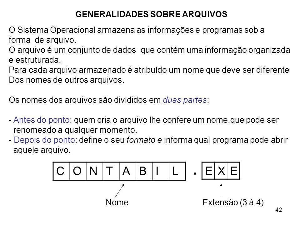 42 GENERALIDADES SOBRE ARQUIVOS CONTABIL O Sistema Operacional armazena as informações e programas sob a forma de arquivo. O arquivo é um conjunto de