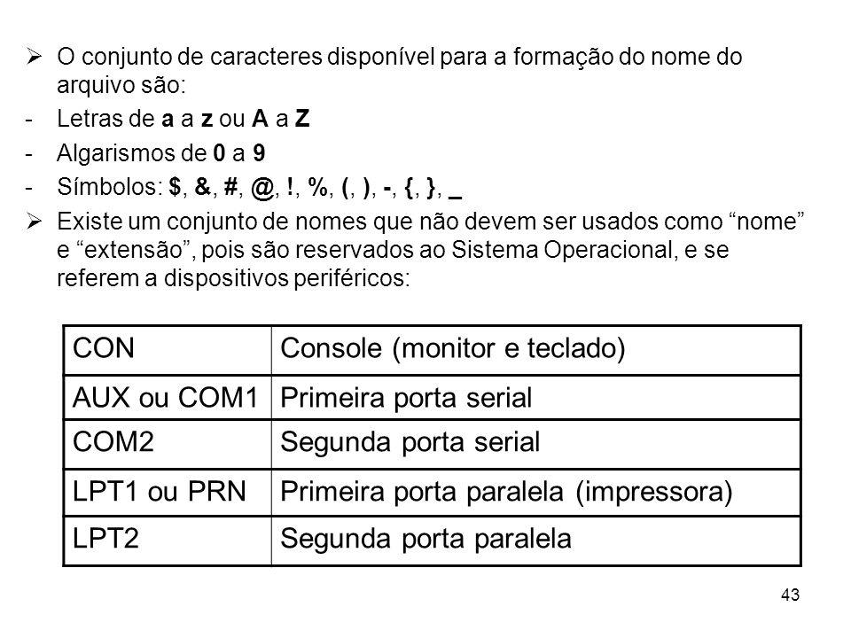 43 O conjunto de caracteres disponível para a formação do nome do arquivo são: -Letras de a a z ou A a Z -Algarismos de 0 a 9 -Símbolos: $, &, #, @, !