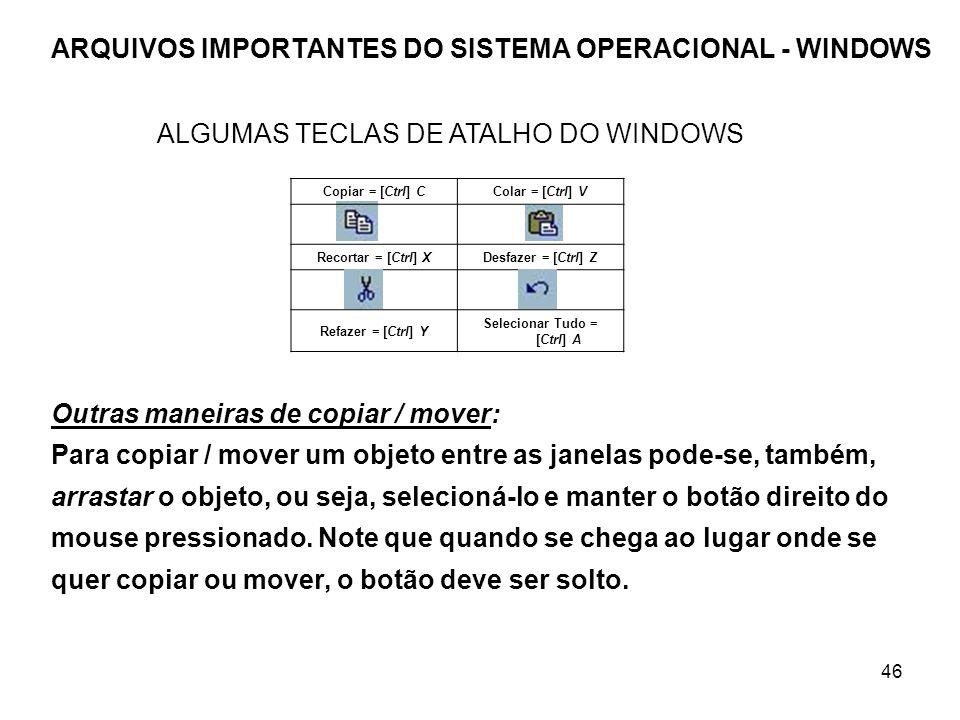 46 ARQUIVOS IMPORTANTES DO SISTEMA OPERACIONAL - WINDOWS Copiar = [Ctrl] CColar = [Ctrl] V Recortar = [Ctrl] XDesfazer = [Ctrl] Z Refazer = [Ctrl] Y S