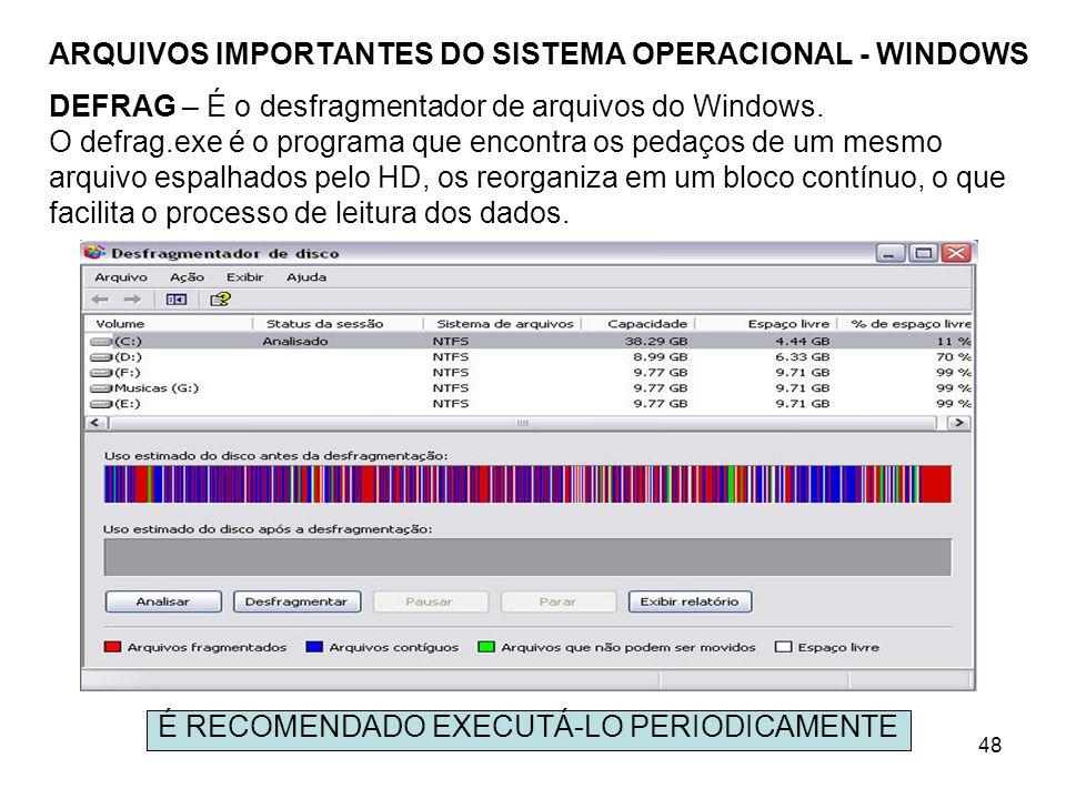 48 ARQUIVOS IMPORTANTES DO SISTEMA OPERACIONAL - WINDOWS DEFRAG – É o desfragmentador de arquivos do Windows. O defrag.exe é o programa que encontra o