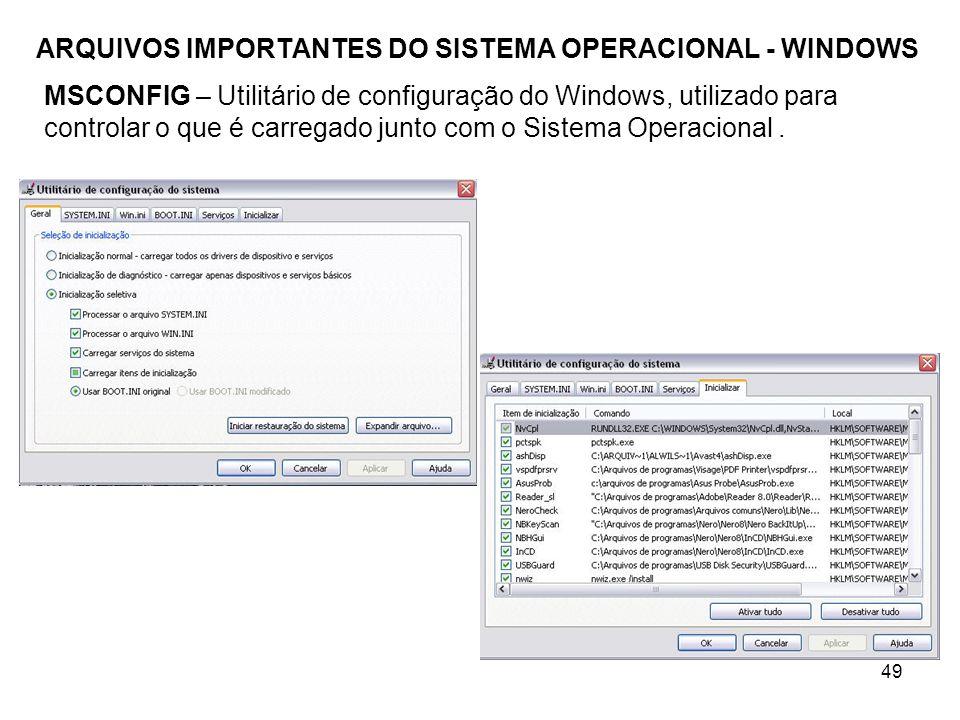 49 ARQUIVOS IMPORTANTES DO SISTEMA OPERACIONAL - WINDOWS MSCONFIG – Utilitário de configuração do Windows, utilizado para controlar o que é carregado