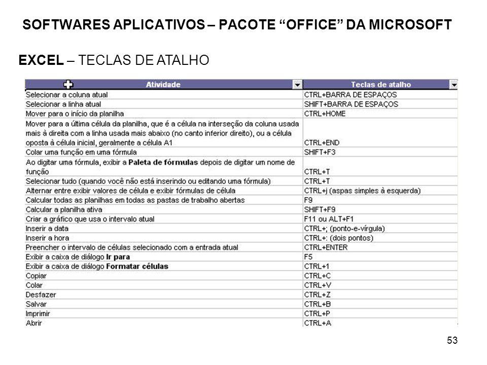53 SOFTWARES APLICATIVOS – PACOTE OFFICE DA MICROSOFT EXCEL – TECLAS DE ATALHO