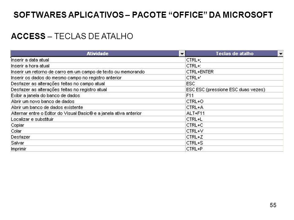 55 SOFTWARES APLICATIVOS – PACOTE OFFICE DA MICROSOFT ACCESS – TECLAS DE ATALHO