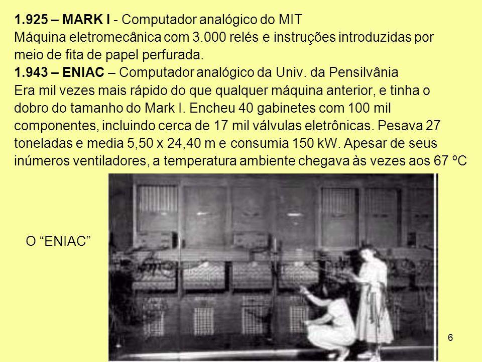 6 1.925 – MARK I - Computador analógico do MIT Máquina eletromecânica com 3.000 relés e instruções introduzidas por meio de fita de papel perfurada. 1