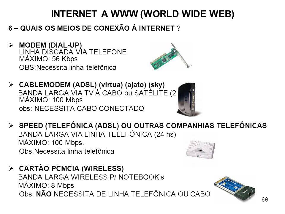 69 INTERNET A WWW (WORLD WIDE WEB) 6 – QUAIS OS MEIOS DE CONEXÃO À INTERNET ? MODEM (DIAL-UP) LINHA DISCADA VIA TELEFONE MÁXIMO: 56 Kbps OBS:Necessita