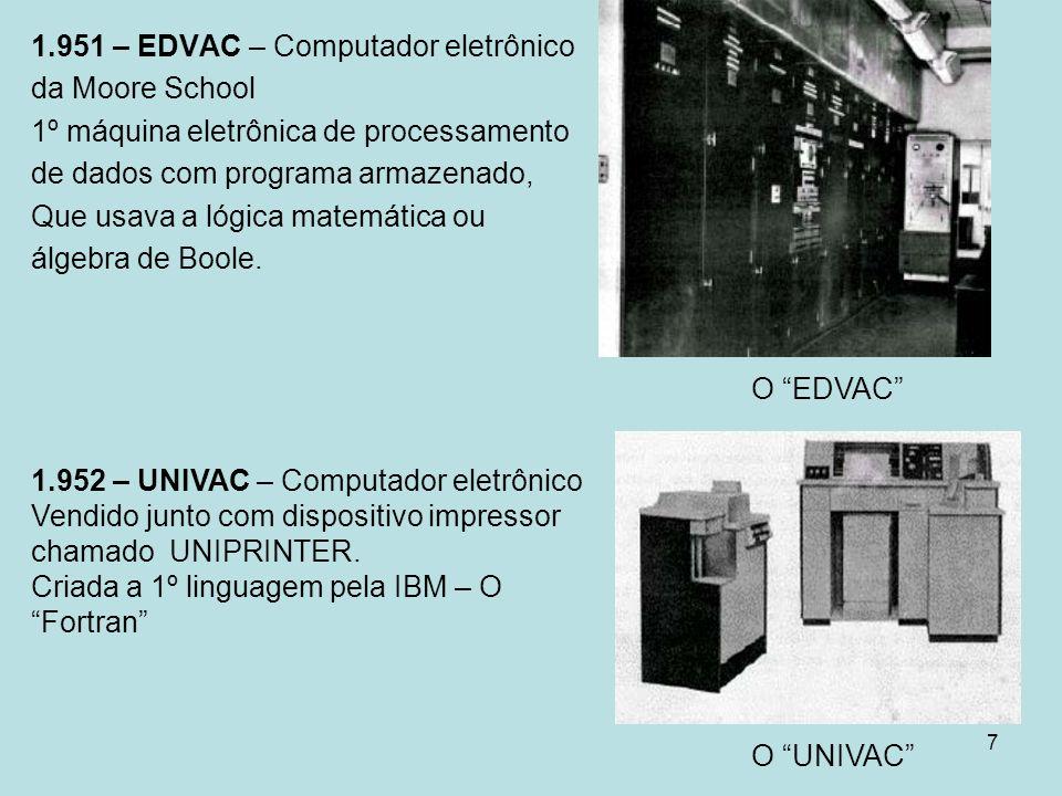 7 1.951 – EDVAC – Computador eletrônico da Moore School 1º máquina eletrônica de processamento de dados com programa armazenado, Que usava a lógica ma