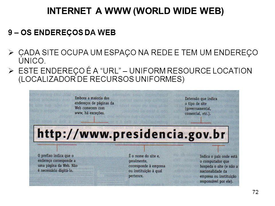 72 INTERNET A WWW (WORLD WIDE WEB) 9 – OS ENDEREÇOS DA WEB CADA SITE OCUPA UM ESPAÇO NA REDE E TEM UM ENDEREÇO ÚNICO. ESTE ENDEREÇO É A URL – UNIFORM