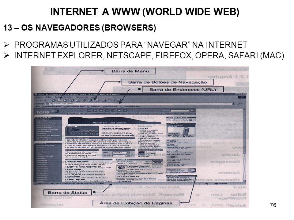 76 INTERNET A WWW (WORLD WIDE WEB) 13 – OS NAVEGADORES (BROWSERS) PROGRAMAS UTILIZADOS PARA NAVEGAR NA INTERNET INTERNET EXPLORER, NETSCAPE, FIREFOX,