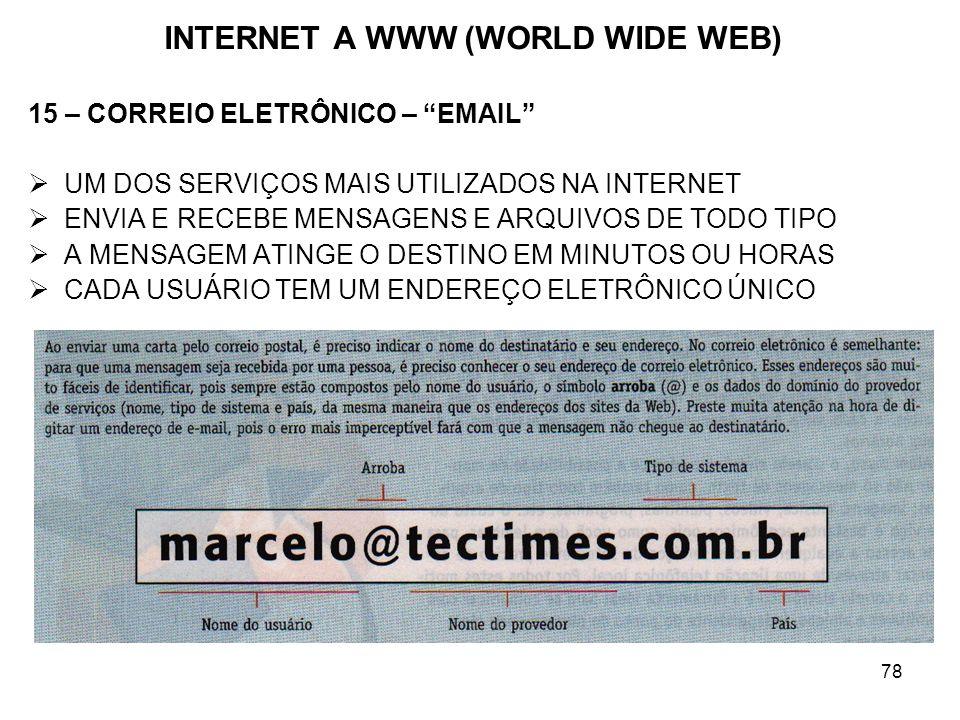 78 INTERNET A WWW (WORLD WIDE WEB) 15 – CORREIO ELETRÔNICO – EMAIL UM DOS SERVIÇOS MAIS UTILIZADOS NA INTERNET ENVIA E RECEBE MENSAGENS E ARQUIVOS DE