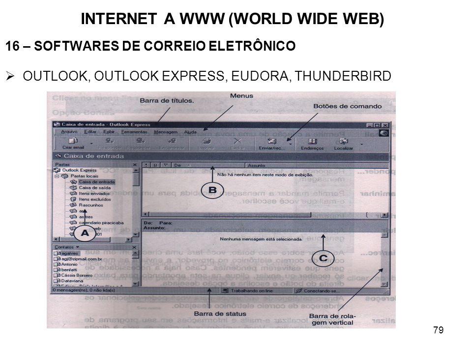 79 INTERNET A WWW (WORLD WIDE WEB) 16 – SOFTWARES DE CORREIO ELETRÔNICO OUTLOOK, OUTLOOK EXPRESS, EUDORA, THUNDERBIRD