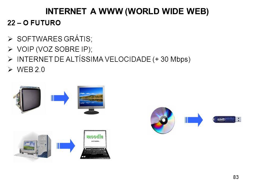 83 INTERNET A WWW (WORLD WIDE WEB) 22 – O FUTURO SOFTWARES GRÁTIS; VOIP (VOZ SOBRE IP); INTERNET DE ALTÍSSIMA VELOCIDADE (+ 30 Mbps) WEB 2.0
