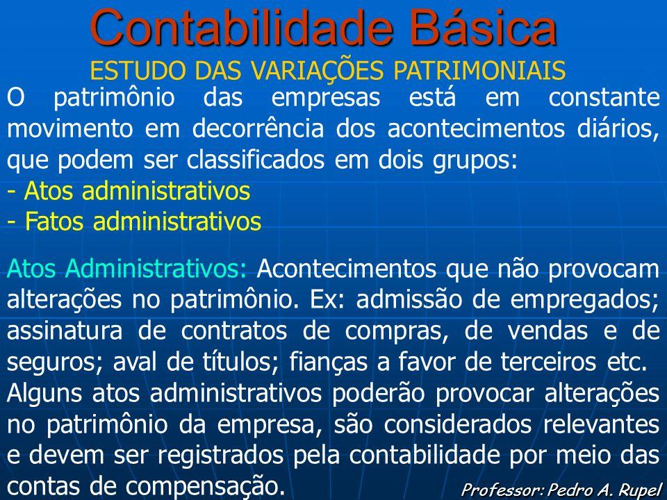 Contabilidade Básica Professor: Pedro A. Rupel ESTUDO DAS VARIAÇÕES PATRIMONIAIS O patrimônio das empresas está em constante movimento em decorrência