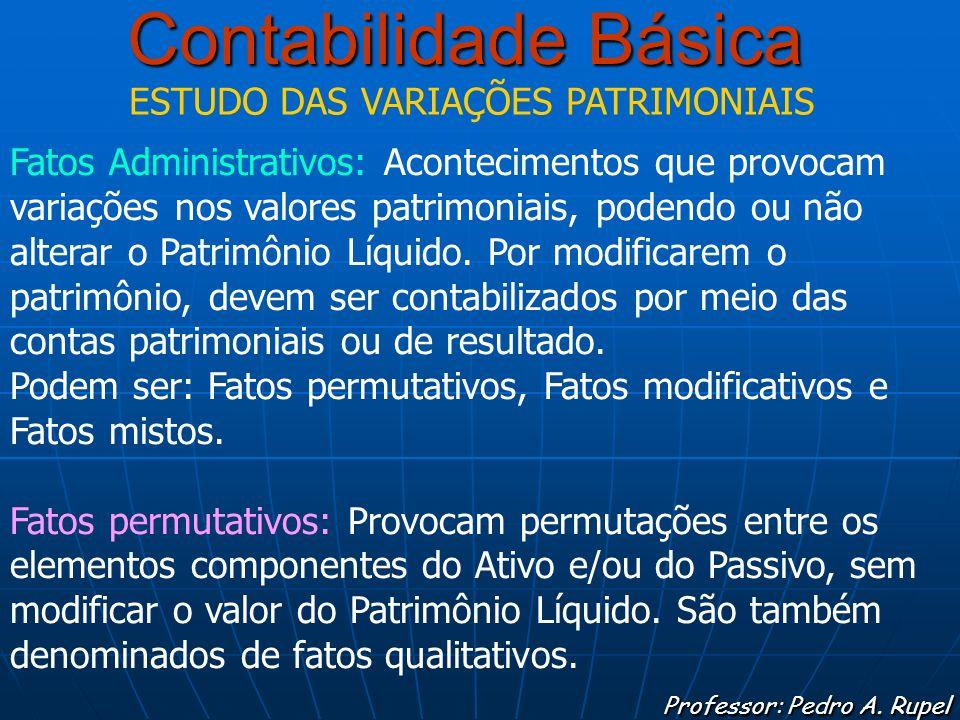 Contabilidade Básica Professor: Pedro A. Rupel ESTUDO DAS VARIAÇÕES PATRIMONIAIS Fatos Administrativos: Acontecimentos que provocam variações nos valo