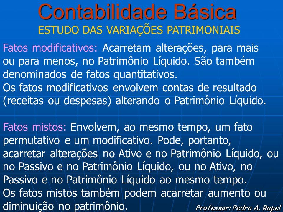 Contabilidade Básica Professor: Pedro A. Rupel ESTUDO DAS VARIAÇÕES PATRIMONIAIS Fatos modificativos: Acarretam alterações, para mais ou para menos, n