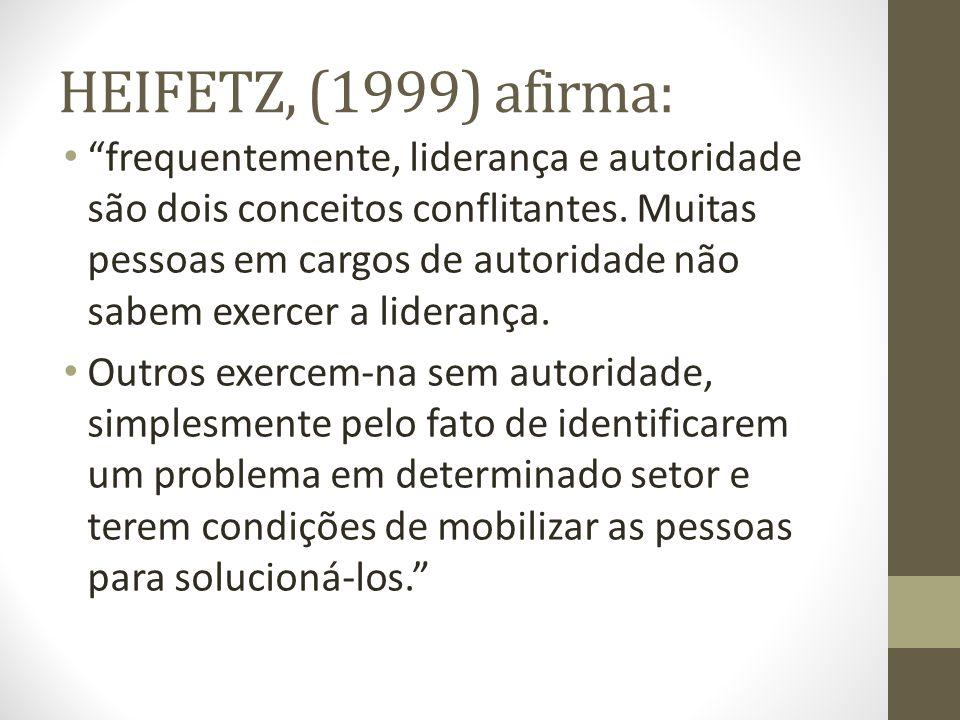 HEIFETZ, (1999) afirma: frequentemente, liderança e autoridade são dois conceitos conflitantes. Muitas pessoas em cargos de autoridade não sabem exerc