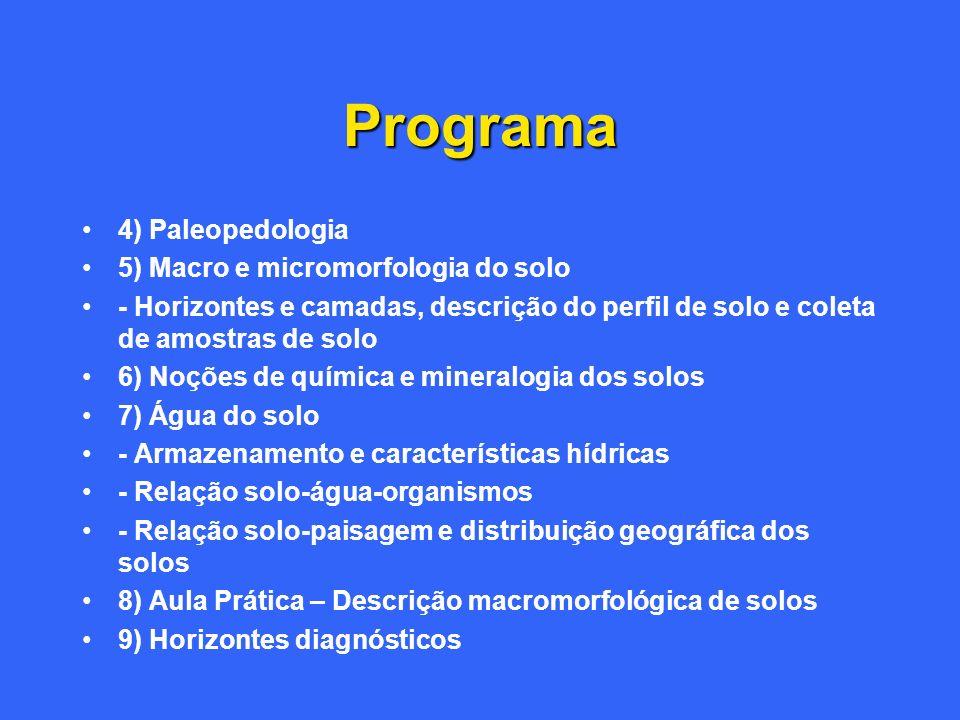 Programa 4) Paleopedologia 5) Macro e micromorfologia do solo - Horizontes e camadas, descrição do perfil de solo e coleta de amostras de solo 6) Noçõ