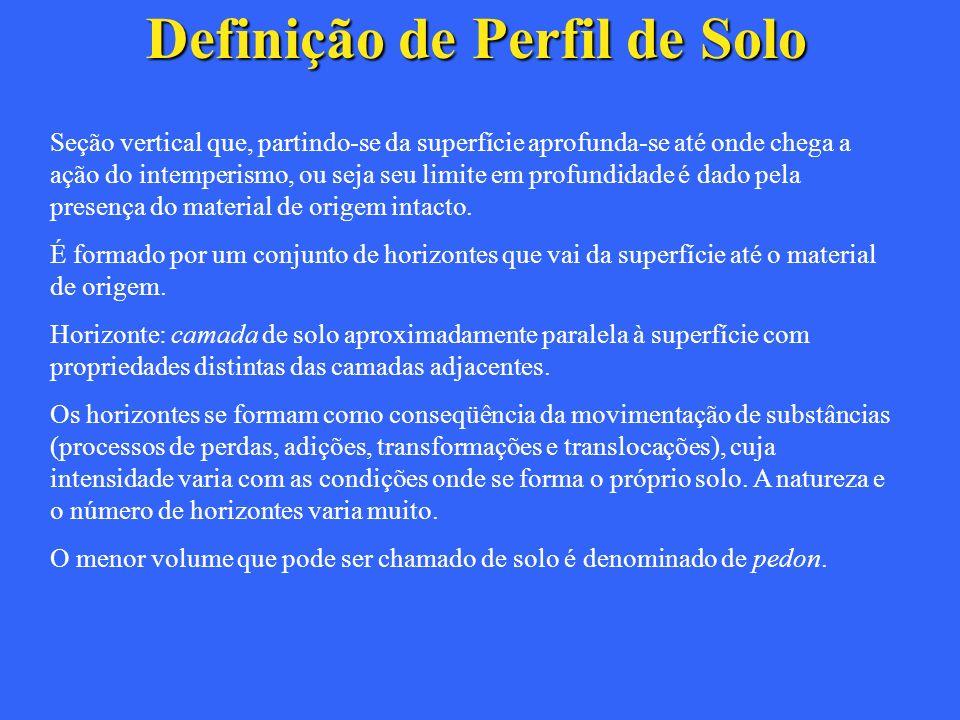 Definição de Perfil de Solo Seção vertical que, partindo-se da superfície aprofunda-se até onde chega a ação do intemperismo, ou seja seu limite em pr