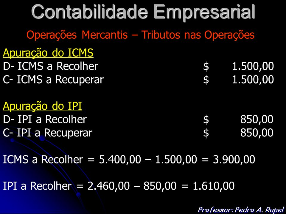 Contabilidade Empresarial Professor: Pedro A.