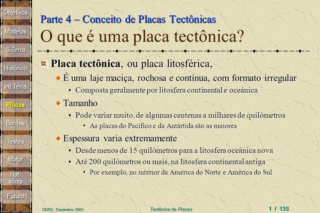 CDRC, Dezembro 2003 Tectônica de Placas 1 / 128 Parte 4 – Conceito de Placas Tectônicas Parte 4 – Conceito de Placas Tectônicas O que é uma placa tectônica.