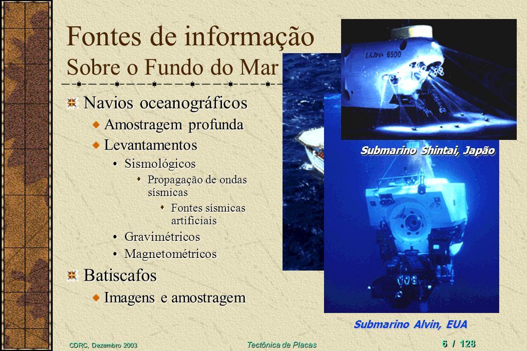 CDRC, Dezembro 2003 Tectônica de Placas 6 / 128 Fontes de informação Sobre o Fundo do Mar Navios oceanográficos Amostragem profunda Levantamentos SismológicosSismológicos Propagação de ondas sísmicas Propagação de ondas sísmicas Fontes sísmicas artificiais Fontes sísmicas artificiais GravimétricosGravimétricos MagnetométricosMagnetométricosBatiscafos Imagens e amostragem Navio Glomar Challenger, EUA Submarino Alvin, EUA Submarino Shintai, Japão