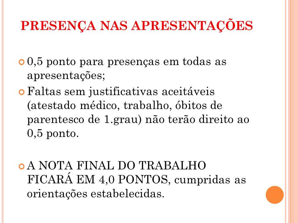 T RABALHO ESCRITO ENTREGA ATÉ O DIA 18/05/2012.