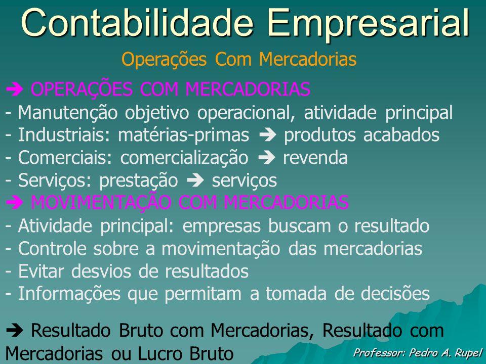 Contabilidade Empresarial Professor: Pedro A. Rupel Operações Com Mercadorias OPERAÇÕES COM MERCADORIAS - Manutenção objetivo operacional, atividade p