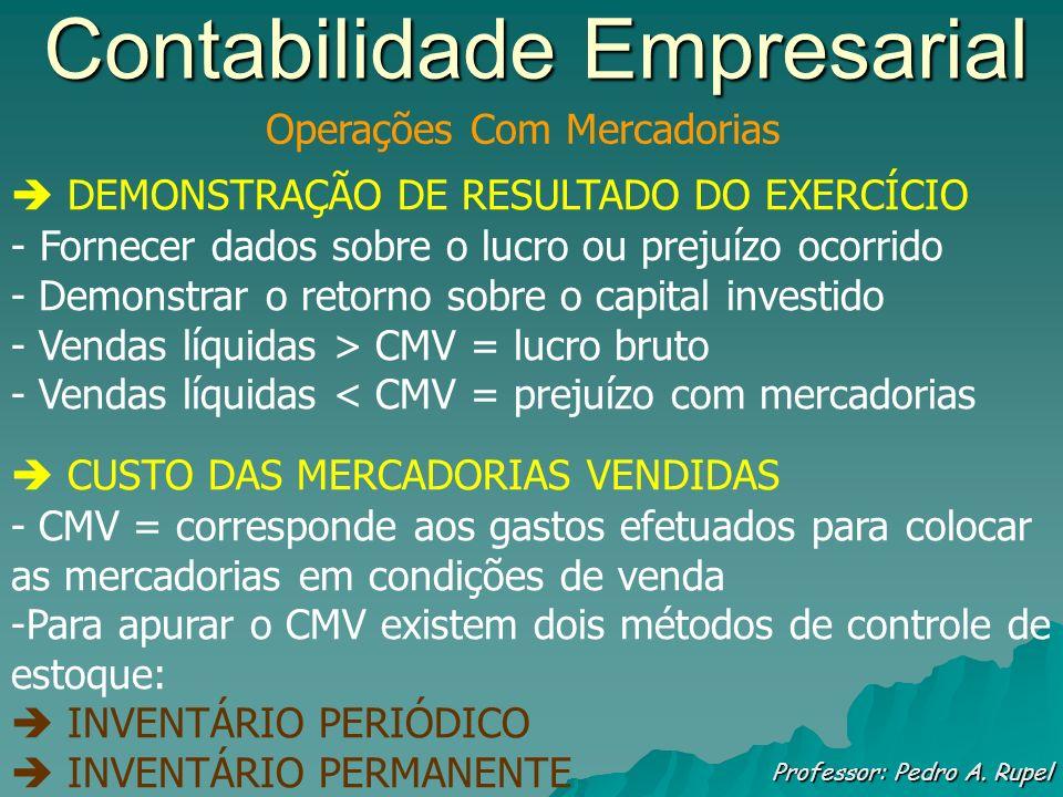 Contabilidade Empresarial Professor: Pedro A. Rupel Operações Com Mercadorias DEMONSTRAÇÃO DE RESULTADO DO EXERCÍCIO - Fornecer dados sobre o lucro ou