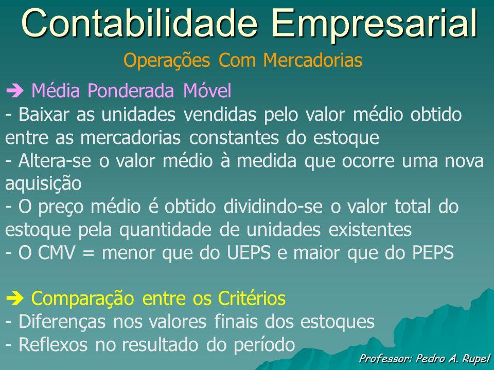 Contabilidade Empresarial Professor: Pedro A. Rupel Operações Com Mercadorias Média Ponderada Móvel - Baixar as unidades vendidas pelo valor médio obt