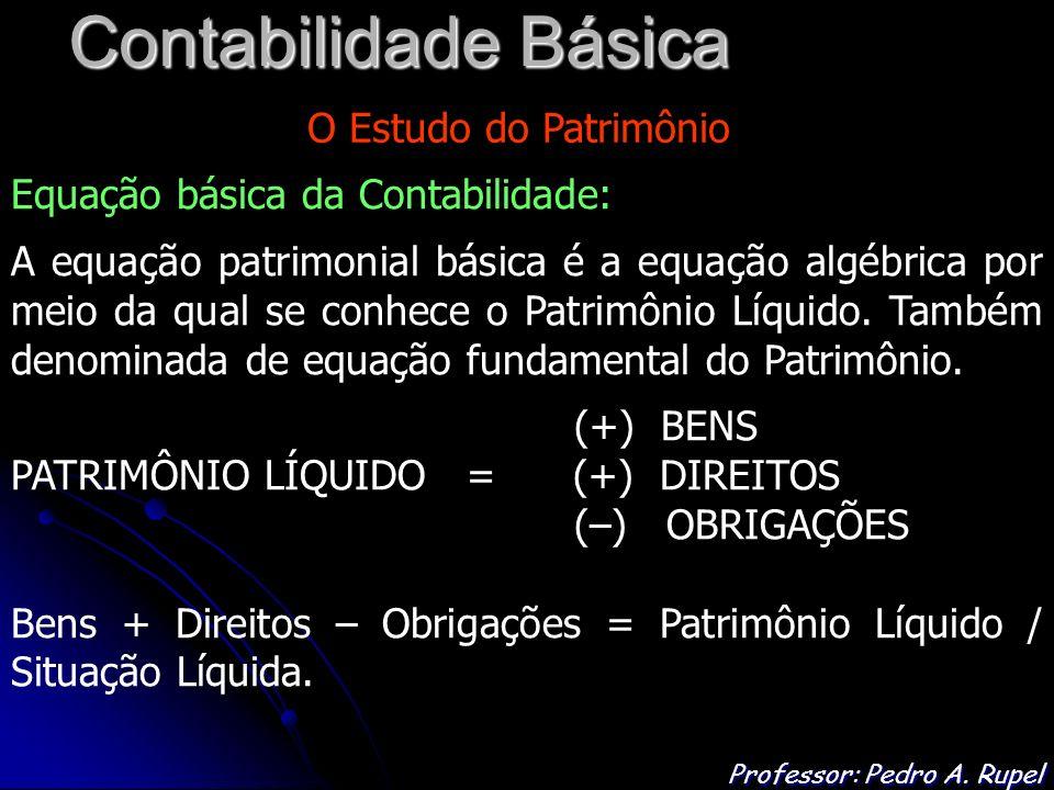 Contabilidade Básica Professor: Pedro A. Rupel O Estudo do Patrimônio Equação básica da Contabilidade: A equação patrimonial básica é a equação algébr