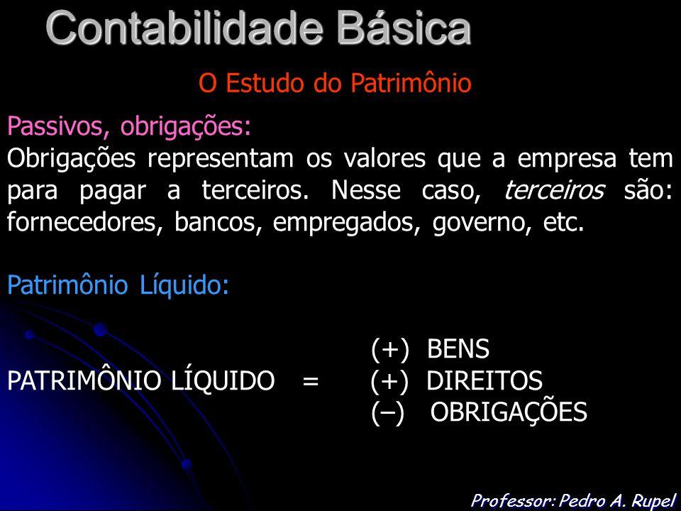 Contabilidade Básica Professor: Pedro A. Rupel O Estudo do Patrimônio Passivos, obrigações: Obrigações representam os valores que a empresa tem para p