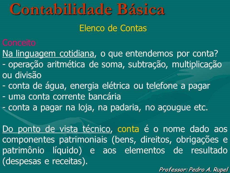 Contabilidade Básica Professor: Pedro A. Rupel Elenco de Contas Conceito Na linguagem cotidiana, o que entendemos por conta? - operação aritmética de