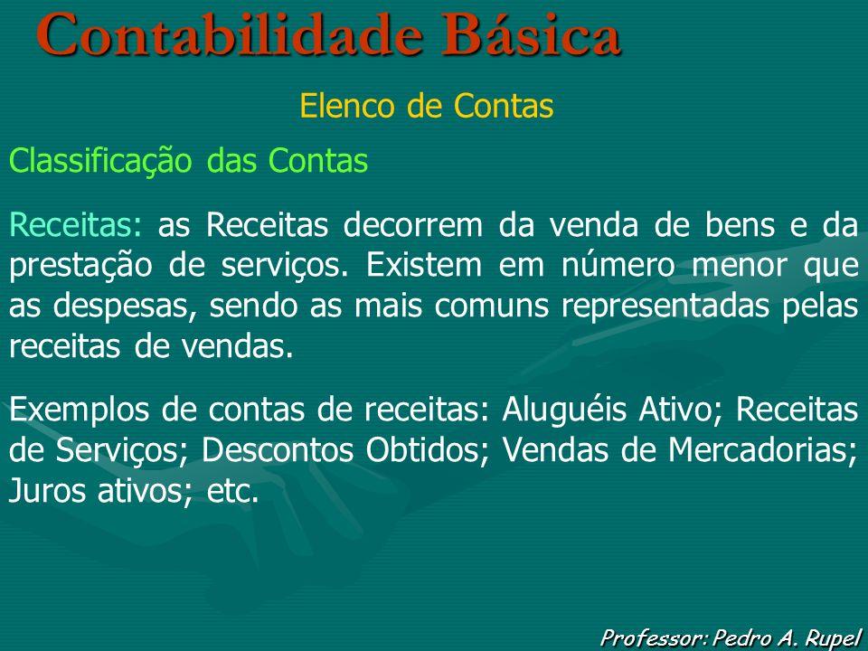 Contabilidade Básica Professor: Pedro A. Rupel Elenco de Contas Classificação das Contas Receitas: as Receitas decorrem da venda de bens e da prestaçã