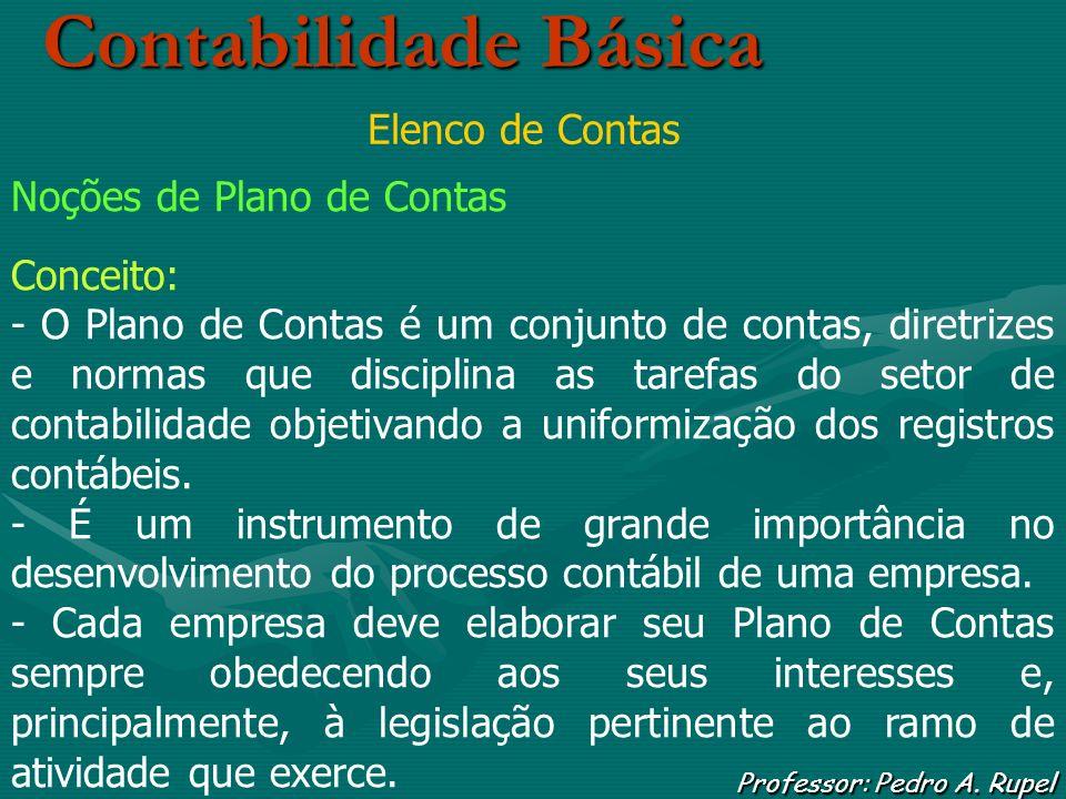 Contabilidade Básica Professor: Pedro A. Rupel Elenco de Contas Noções de Plano de Contas Conceito: - O Plano de Contas é um conjunto de contas, diret