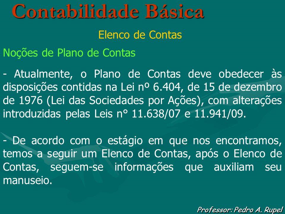 Contabilidade Básica Professor: Pedro A. Rupel Elenco de Contas Noções de Plano de Contas - Atualmente, o Plano de Contas deve obedecer às disposições