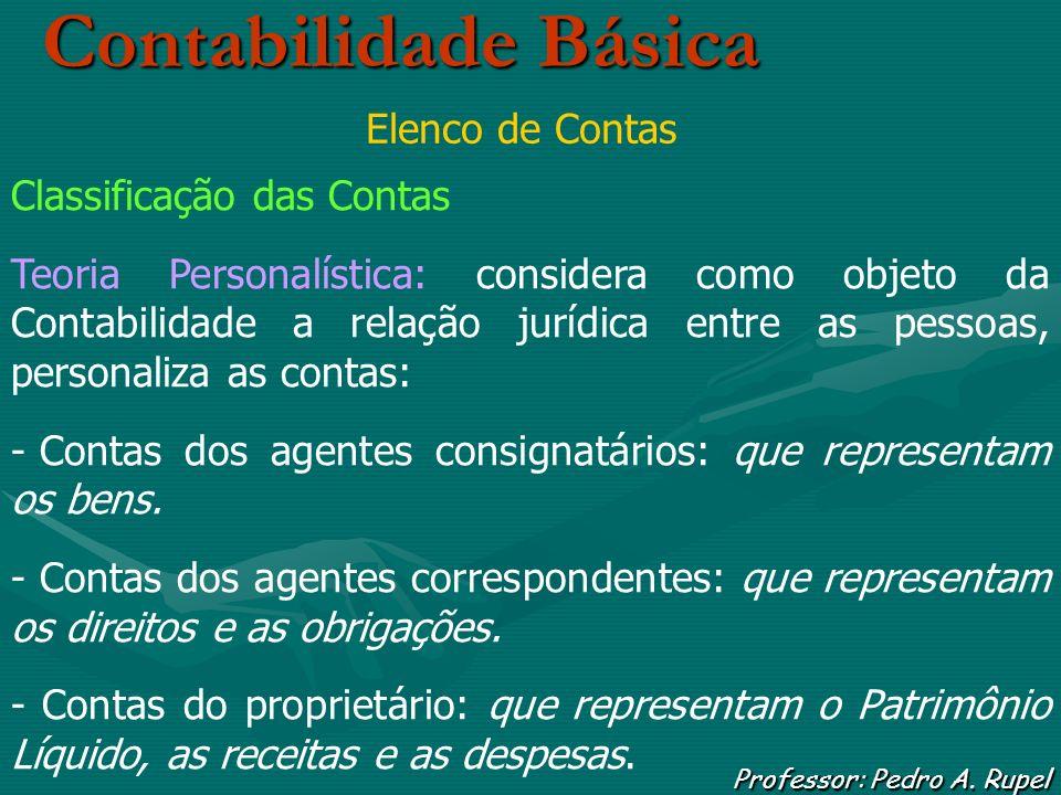 Contabilidade Básica Professor: Pedro A. Rupel Elenco de Contas Classificação das Contas Teoria Personalística: considera como objeto da Contabilidade