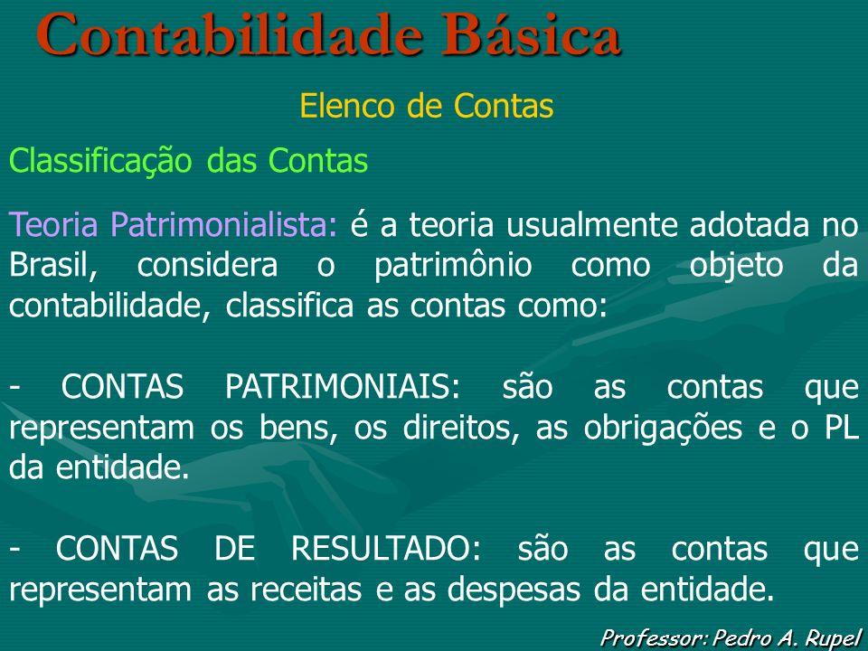 Contabilidade Básica Professor: Pedro A. Rupel Elenco de Contas Classificação das Contas Teoria Patrimonialista: é a teoria usualmente adotada no Bras