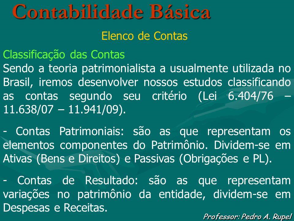 Contabilidade Básica Professor: Pedro A. Rupel Elenco de Contas Classificação das Contas Sendo a teoria patrimonialista a usualmente utilizada no Bras