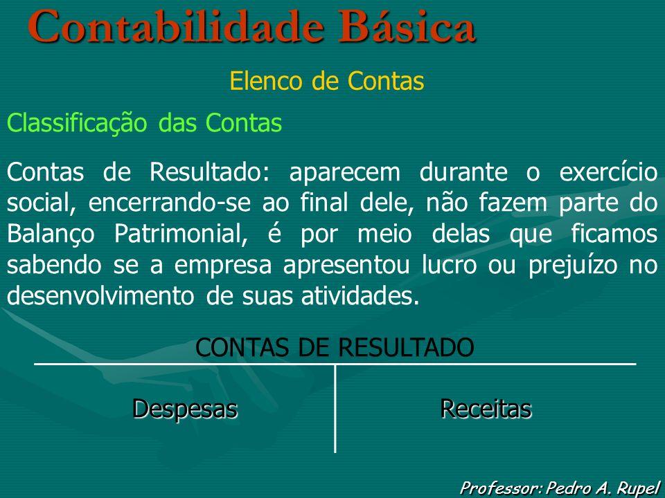 Contabilidade Básica Professor: Pedro A. Rupel Elenco de Contas Classificação das Contas Contas de Resultado: aparecem durante o exercício social, enc