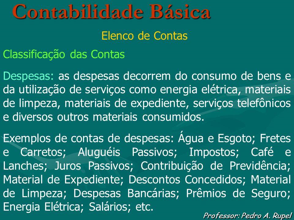Contabilidade Básica Professor: Pedro A. Rupel Elenco de Contas Classificação das Contas Despesas: as despesas decorrem do consumo de bens e da utiliz