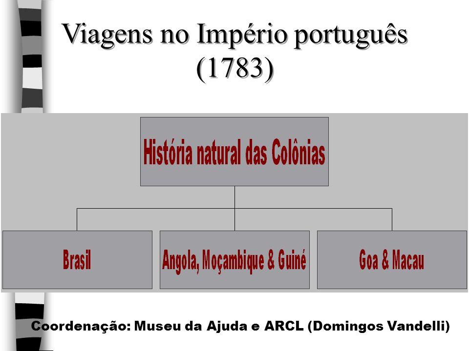 Viagens no Império português (1783) Coordenação: Museu da Ajuda e ARCL (Domingos Vandelli)