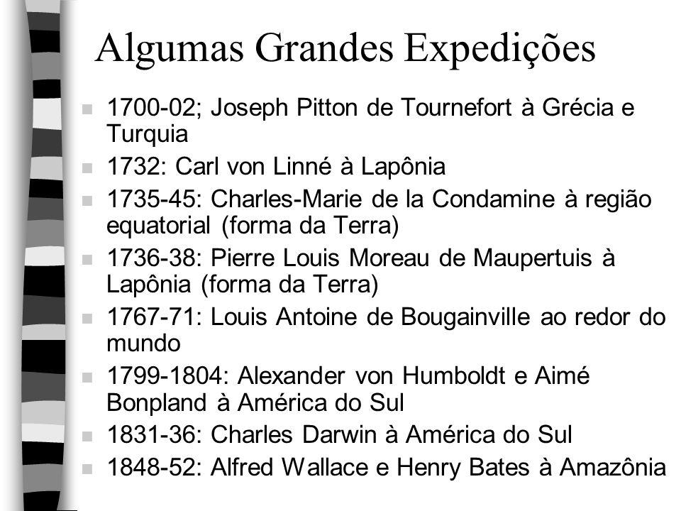Algumas Grandes Expedições n 1700-02; Joseph Pitton de Tournefort à Grécia e Turquia n 1732: Carl von Linné à Lapônia n 1735-45: Charles-Marie de la C