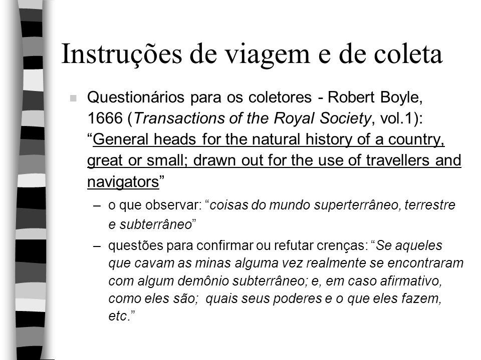Instruções de viagem e de coleta n Questionários para os coletores - Robert Boyle, 1666 (Transactions of the Royal Society, vol.1):General heads for t